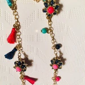 Talbots Long Gold, Flower, Beads, Tassels Necklace